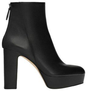 Zara black leather platform high heel booties, 7.5